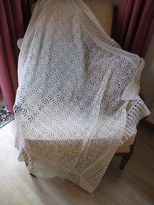 Pretty Vintage finely knitted cream wool christening shawl