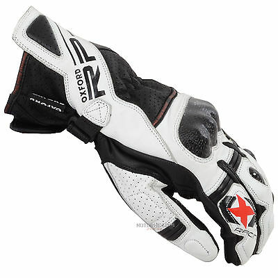 Oxford RP-2 Gloves White Black XLarge Adult Leather Sport Summer Motorcycle