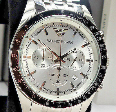 Emporio Armani AR6073 Men's Silver Stainless Steel Chronograph Watch $345 NEW