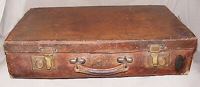 Beautiful Antique Leather Pigskin Suitcase Ancient Emblem Crest Brass Fittings