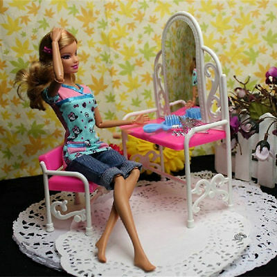 Dressing Table & Chair Accessories Set For Barbies Dolls Bedroom Furniture TYGS