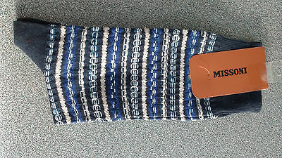 Missoni Men Blue Socks In Large New