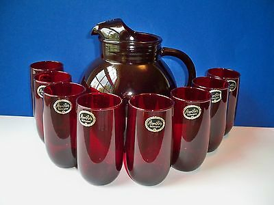 Anchor Hocking Roly Poly Royal Ruby  96oz Pitcher & 8 Ice Tea Tumblers 13oz
