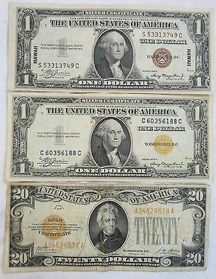 US 1935A $1 Dollar Silver & 1935 A Hawaii & 1928 20 Gold Certificate Old Antique