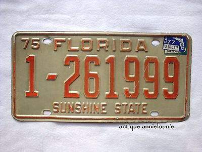 1975 TAG 1977 FLORIDA, Dade County Vintage License Plate # 1-261999