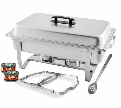 TigerChef 8 Quart Full Size Stainless Steel Chafer with Folding Frame and Cool-T