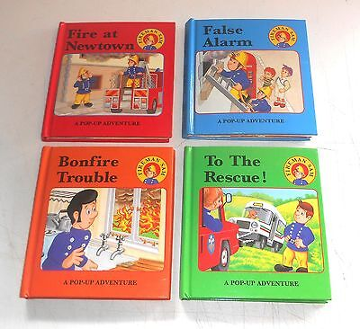 Vintage 1994 TV Series ~ FIREMAN SAM ~ 4 x Pop-up Story Books by Heinemann