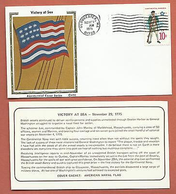 """US - Bicentennial Cover Series - KSC """"Silk"""" Cachet - Victory at Sea"""