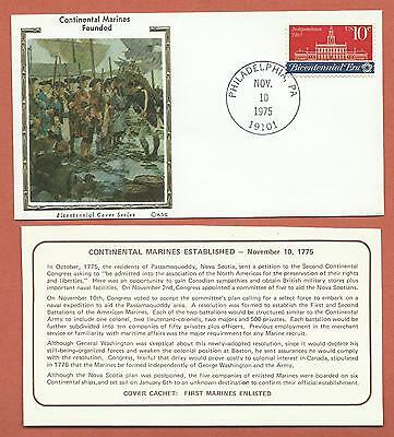 """US - Bicentennial Cover Series - KSC """"Silk"""" Cachet - Continental Marines Founded"""