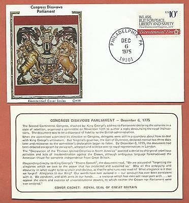 "US-Bicentennial Cover Series - KSC ""Silk"" Cachet - Congress Disavows Parliament"
