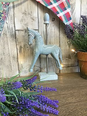 NEW Shabby Chic Style Duck Egg Blue Vintage Horse Ornament Statue