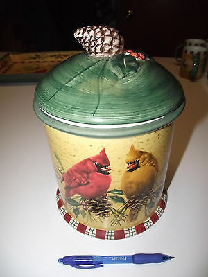 $159 Lenox Winter Greetings Catherine McClung Earthenware Cookie Jar Holly Bird