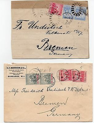Barbados 1904 commercial cover and 1899 front to Germany