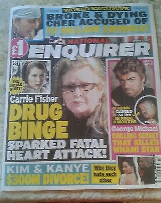 National Enquirer Magazine-Jan 9 2017- George Michael Carrie Fisher