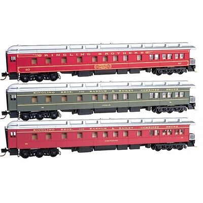 Ringling Bros Micro-Trains 99301320 Observation Passenger Car 3-Pack N Scale