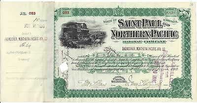 Saint Paul And Northern Pacific Railway Company....1893 Stock Certificate