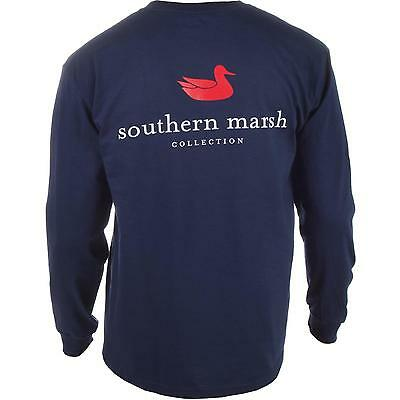 Brand New Southern Marsh Long Sleeve T Shirt Men's - Blue, White, Green, Orange