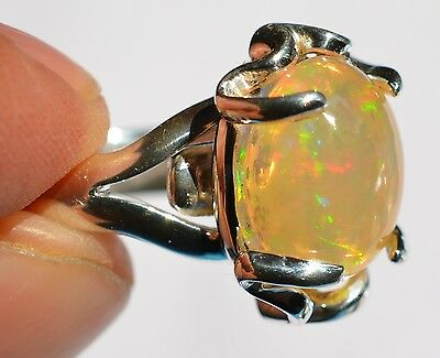 100% Natural Fire Opal & .950 Sterling Silver Ring Jewelry Taxco Mexican Sz 6 -8