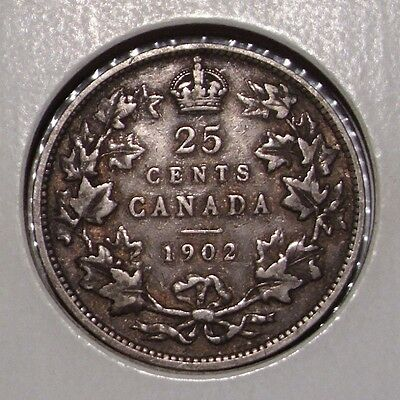 1902 Canada 25 Cents Sterling Silver Coin , VF , King Edward VII