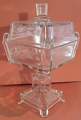 EAPG Footed Square Compote with Lid, Adams NR75, AKA Post, Square Panes, 1880's