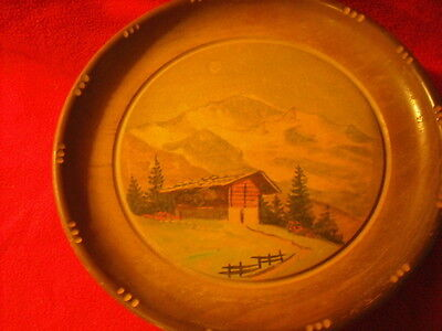 Vintage Hand-Painted Swiss Chalet Revolving Plate Music Box
