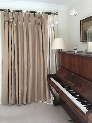Huge Bay Window Designer Coffee Bespoke Interlined Embroidered Custom Curtains