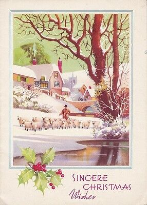 Vintage Christmas Card - Shepherd With Flock Of Sheep - Cottages - Winter Scene