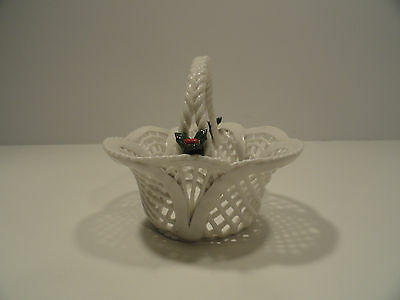 Vintage Porcelain Lace Handled Basket with Holly Accents