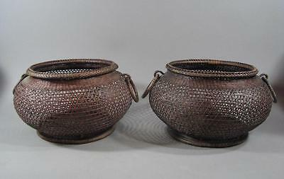 Fine Pair Of ANTIQUE JAPANESE Baskets Excellent Quality Ikebana