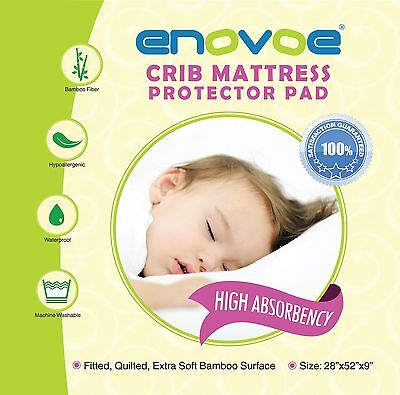 NEW Enovoe Crib Mattress Protector Pad | Hypoallergenic Crib Matress Cover