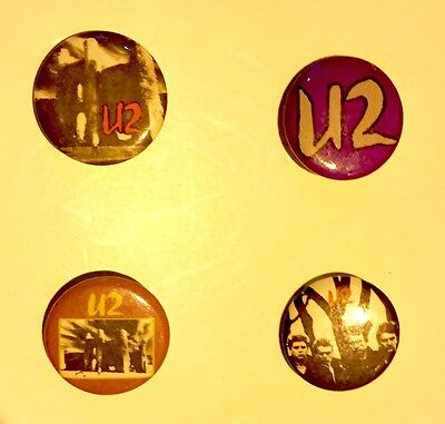 U2 Pin - Button Set of FOUR (4) HARD TO FIND 1985 UNFORGETTABLE FIRE Tour