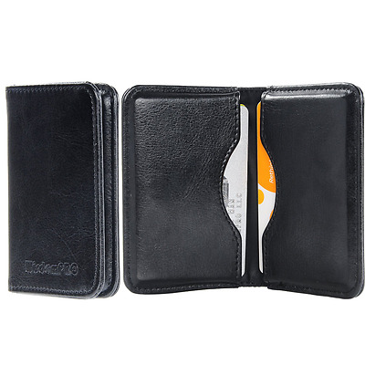Business Card Holder, Wisdompro 2-Sided PU Leather Folio Name Card Holder Wallet