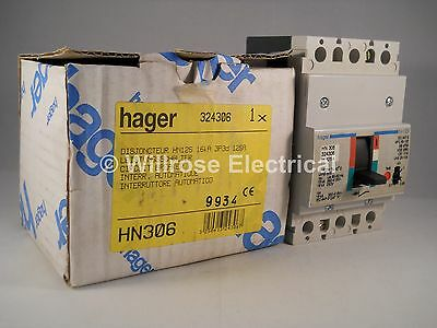 Hager MCCB 125 Amp Triple Pole 125A 3 Phase Breaker HN125 HN306 NEW