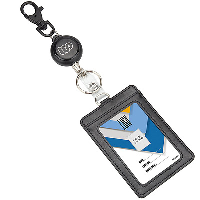 Wisdompro Retractable Reel with Heavy Duty Vertical 2-Sided PU Leather ID Badge