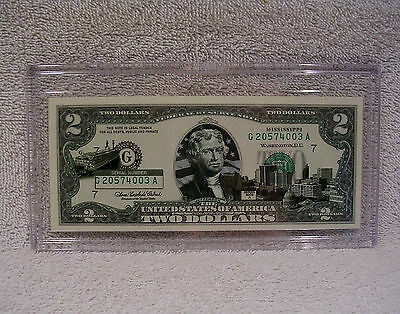 Mississippi $2 Two Dollar Bill - Colorized State Landmark Uncirculated Authentic