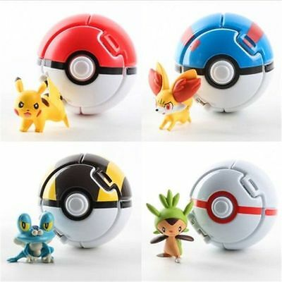 Pokemon Bounce 4 Pokeball 4 Action Figures Random Set Kid Toy Children Game Gift
