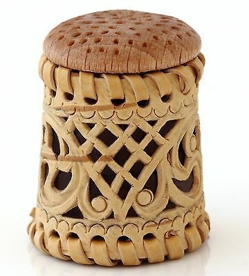 """Handmade Limited Edition Russian Birch Bark Wood Wooden Collectible Thimble 1.3"""""""
