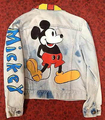One of a Kind Handmade Mickey Mouse Women's Denim Jacket Size S, Or Best Offer!