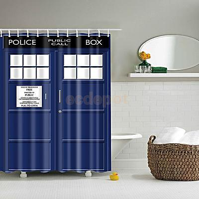 Waterproof Fabric Curtain POLICE BOX Print Bathroom Shower Divider +12 Hooks