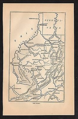 Small Original 1865 Antique Civil War Map WEST VIRGINIA Secession from Virginia