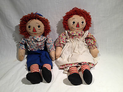 1938-1940's GEORGENE RAGGEDY ANN & ANDY, ORIGINAL CLOTHES, SIDE TAGS, WOOL WIGS