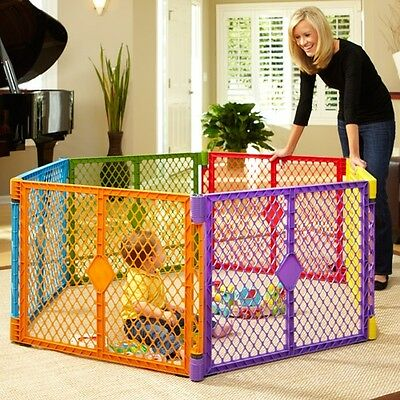 North States Superyard Colorplay 6-Panel Play Yard, Portable Indoor-Outdoor,