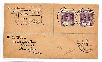 "GG26 1915 FIJI KGV ISSUES Registered ""Wilson"" Cover Birmingham {samwells-covers}"