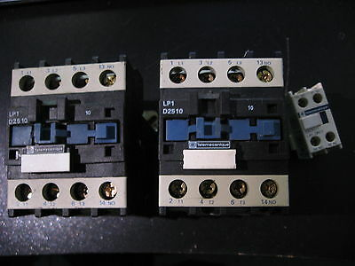 Qty 2 Telemecanique Lp1 D2510 Contactor Relay 3P 40A Coil 24V Dc & Ladn11 - Used