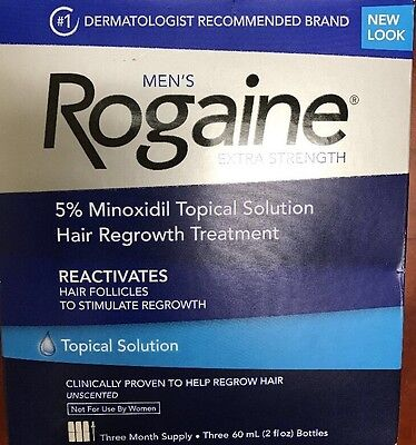 Rogaine Extra Strength 5 % Minoxidil 3 Month Supply. NEW BOX. FREE SHIP.