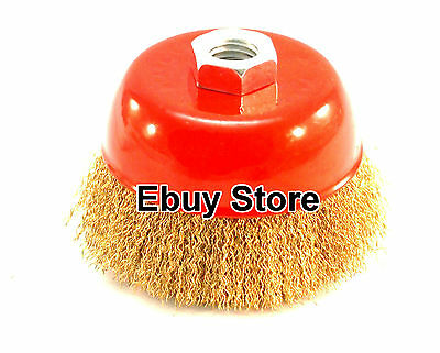 """3"""" x 5/8"""" Arbor FINE Crimped Wire Cup Wheel Brush - For Angle Grinders"""