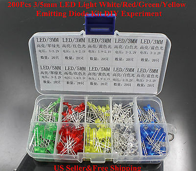 200Pcs 3/5mm LED Light White/Red/Green/Yellow Emitting Diode Kit DIY Experiment