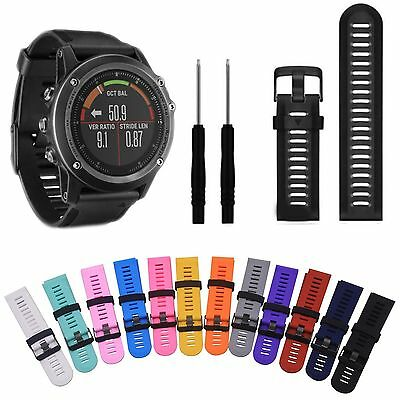 Soft Silicone Strap Replacement Watch Strap Band+Tool Kit For Garmin Fenix 3/HR