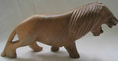 Wonderful Carved Wood Roaring African  Lion