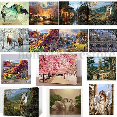 16*20'' DIY Digital Oil Painting By Number Kit Linen Canvas Paint Home Decor New
